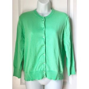 J.Crew Lime Green Long Sleeve Button Up Cardigan